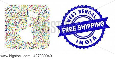 Vector Collage West Bengal State Map Of Pointer Arrows And Scratched Free Shipping Badge. Collage We
