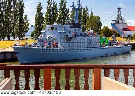 Swinoujscie. Naval Warships At The Naval Base.