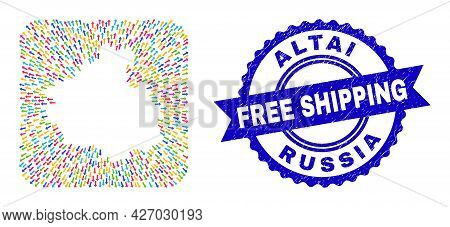 Vector Collage Altai Republic Map Of Migration Arrows And Rubber Free Shipping Stamp. Collage Altai