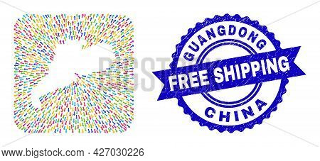 Vector Collage Guangdong Province Map Of Emigration Arrows And Grunge Free Shipping Badge. Collage G
