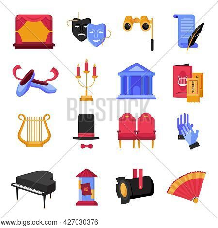 Colorful Flat Theatre Icons Set With Musical Instruments And Props Isolated On White Backgroumd Vect