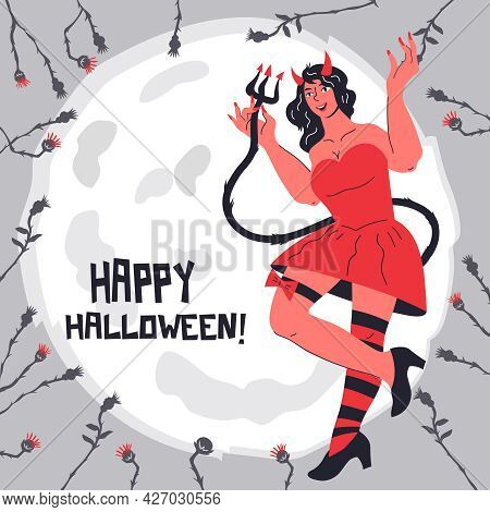 Halloween Party Invitation Or Greeting Card, Post Template With Devil Girl Cartoon Character, Flat C