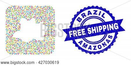 Vector Collage Amazonas State Map Of Pointer Arrows And Rubber Free Shipping Badge. Collage Amazonas