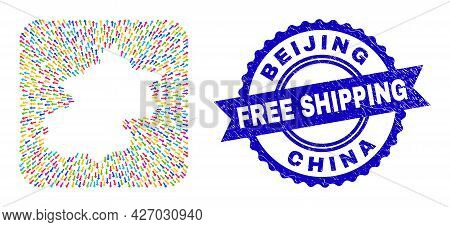 Vector Mosaic Beijing City Map Of Pointer Arrows And Grunge Free Shipping Seal Stamp. Mosaic Beijing