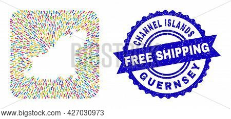 Vector Collage Guernsey Island Map Of Navigation Arrows And Scratched Free Shipping Seal Stamp. Coll