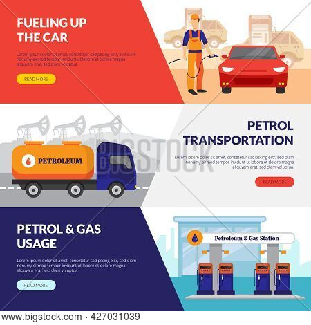 Petrol Station Horizontal Banners Set With Gas Usage Symbols Flat Isolated Vector Illustration