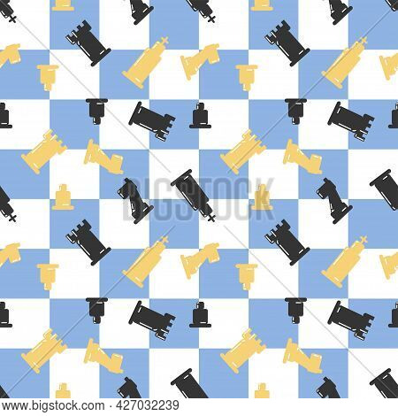 Chessboard With Chessmans Seamless Pattern. Blue White Check. Chess Day. King Rook Castle Horse Knig
