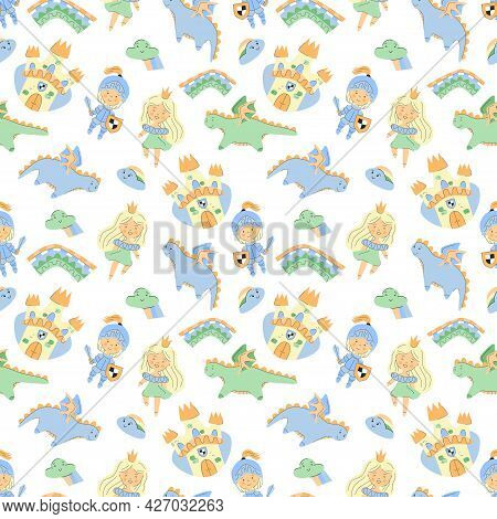 Fairy Tale Seamless Pattern With Castle Princess Knight Dragons And Rainbows, Kids Unisex Pattern Fo