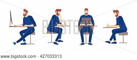 Man Character Relaxed Working Vector Illustration. Guy Sitting With Smartphone, Making Videocall Via