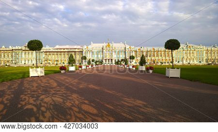 Facade Of Catherine Palace Located In Suburb Of St. Petersburg, In City Of Pushkin, Russia. Travelli