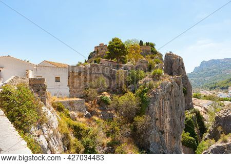 Guadalest, Spain Ancient Town With Medieval Castle Ruins Built On Rock Pinnacle In Province Of Alica