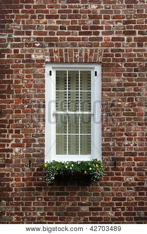 Old brick wall window
