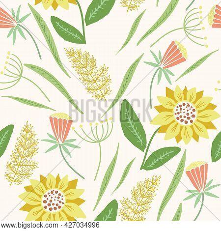 Vector Yellow And Orange Wildflowers Seamless Pattern