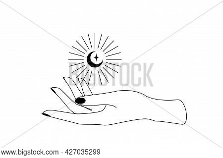 Mystic Celestial Crescent Moon With Sunshine Over Woman Hand Outline Silhouette. Vector Illustration