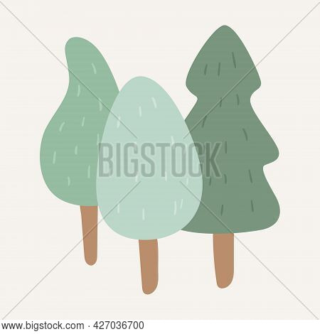 Vector Cartoon Doodle Picture Of Trees, Spruce And Tree With A Wide Crown. Childrens Sticker Of The