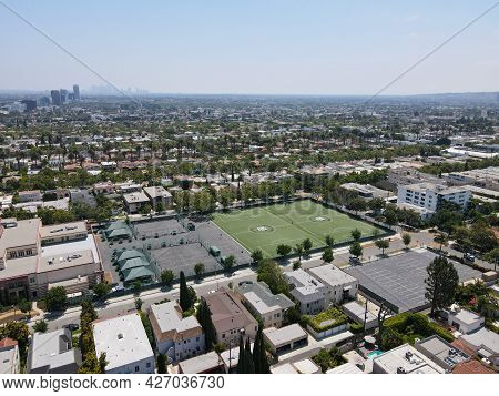 Aerial View Of Beverly Hills And School, City In Californias Los Angeles County. Usa. July 13th, 202