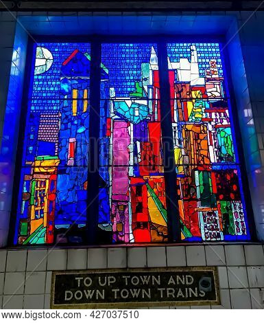 Colorful Stained Glass Window Above A