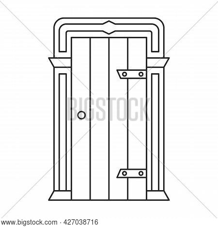 Door Medieval Vector Outline Icon. Vector Illustration Doors Castle On White Background. Isolated Ou