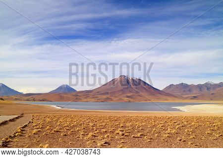 Miscanti Lake At The Elevation Of 4,120 Meters Above Sea Level With Mt. Cerro Miscanti In The Backdr