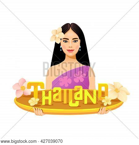 Thai Girl With A Smile Holding The Word Thailand On A Golden Bowl. Welcome To Thailand. Female Chara