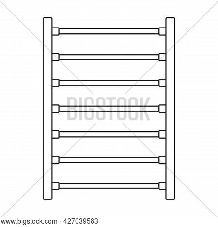 Towel Rail Vector Outline Icon. Vector Illustration Radiator Dryer On White Background. Isolated Out