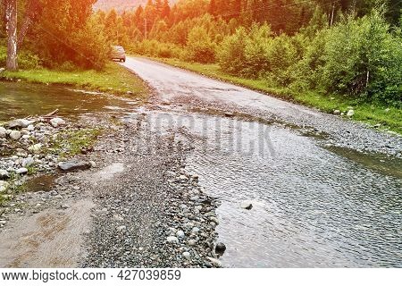 Vacation Roadtrip Landscape. Russian Altai Mountains. Multa Region. Holiday At Home. Staycation Conc