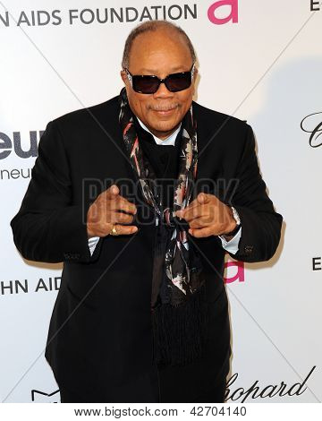 LOS ANGELES - FEB 24:  Quincy Jones arrives at the Elton John Aids Foundation 21st Academy Awards Viewing Party at the West Hollywood Park on February 24, 2013 in West Hollywood, CA