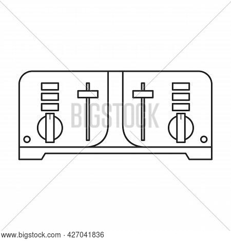 Toaster Vector Outline Icon. Vector Illustration Appliance Kitchen On White Background. Isolated Out
