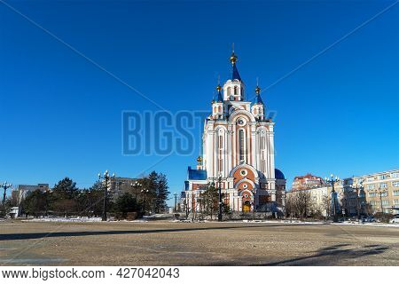 Dormition Cathedral Of Khabarovsk, One Of The Largest Churches In The Russian Far East. Russian Orth