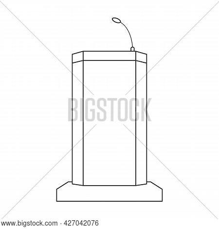 Tribunal Vector Outline Icon. Vector Illustration Podium On White Background. Isolated Outline Illus