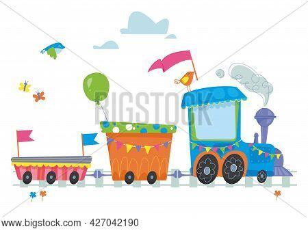 Cute Blue Cartoon Steam Locomotive. Decor For The Holiday And Birthday. Place For Your Text. Vector