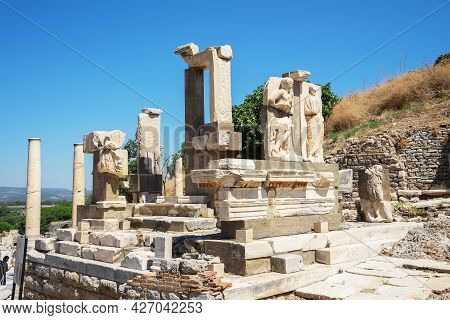 Ruins In The Ancient Greek City Ephesus Or Efes On The Coast Of Ionia In Izmir Province, Turkey In S
