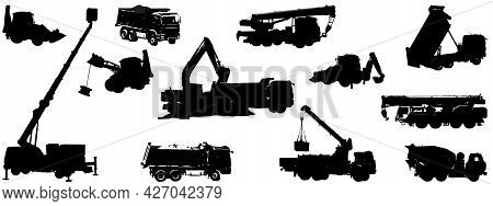 Set Of Silhouettes Of Construction Equipment. Dump Trucks, Backhoe Loaders, Truck Cranes, Loader Cra