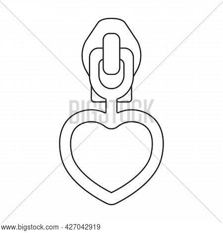 Lock Vector Outline Icon. Vector Illustration Zipper On White Background. Isolated Outline Illustrat