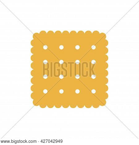 Biscuit Icon. Yummy Crackers, Isolated On White Background. Top View Biscuit Cookie. Vector Illustra