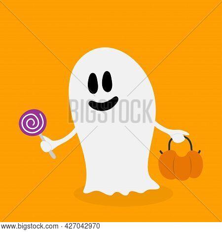 Spirit Ghost. Happy Halloween. Cute Cartoon Halloween Ghost. Orange Background. Vector Illustration