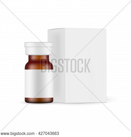 Small Amber Glass Medical Ampoule Mockup With Paper Packaging Box. Vector Illustration