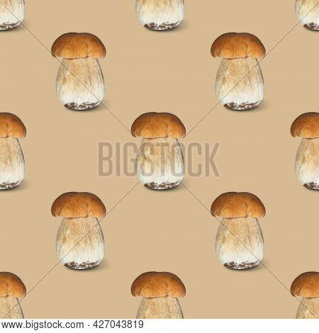Mushrooms Seamless Pattern On A Beige Background. Vegetable Pattern For Design. Autumn Abstract Back