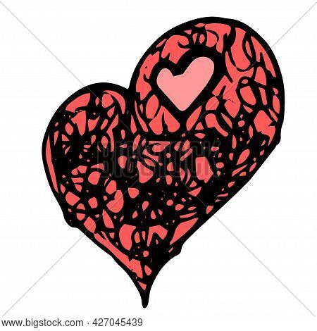 Red Heart Vector Icon. A Hand-drawn Heart, Red In Color With The Texture Of A Pile Of Tangled Lines