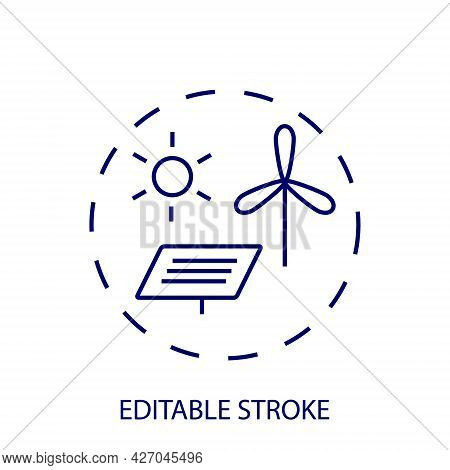 Alternative Energy Outline Concept Icon. Windmill And Solar Battery. Isolated Vector Round Stock Ill