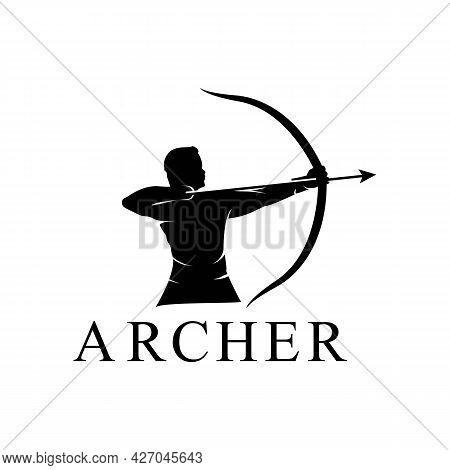 Hercules Heracles With Bow Longbow Arrow, Muscular Myth Greek Archer Warrior Silhouette Logo Design