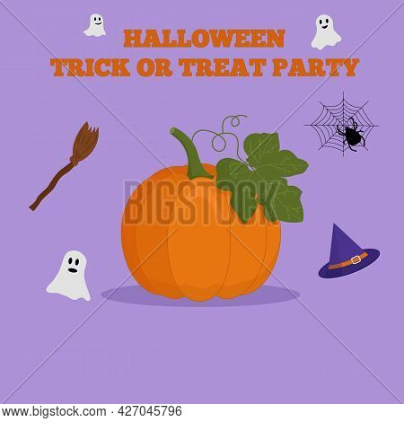 Pumpkin Flat Vector Illustration. Halloween. Pumpkin With Leaves, Witch Hat, Ghosts, Broom