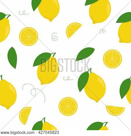 Lemon Seamless Vector Pattern. Lemon Wedges With Leaves