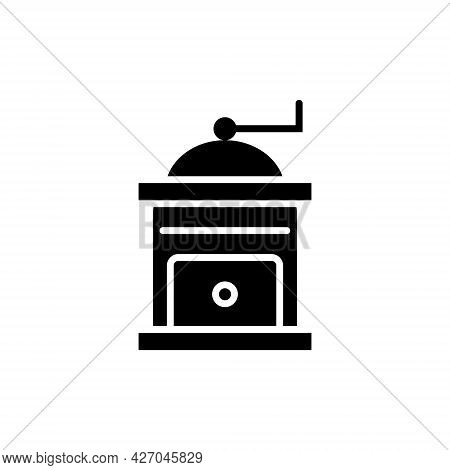 Manual Coffee Grinder Glyph Icon. Professional Technology For Beans Processing. Isolated Vector Stoc