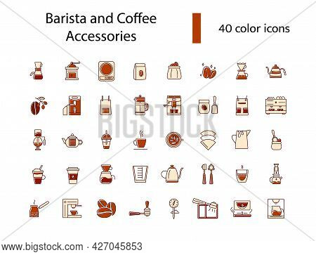 Barista And Coffee Accessories Flat Icons Set. Coffee Making Appliance. Color Symbol. Isolated Vecto