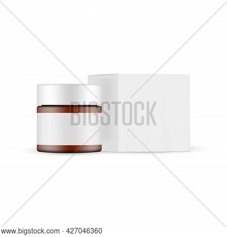Cosmetic Amber Jar With Blank Label And Square Box Mockup Side View, Isolated On White Background. V
