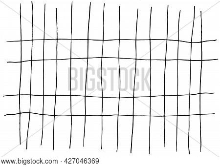 A Vector Grid Of Intersecting Lines In Black On A White Background. Isolated Vector Element, White C