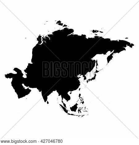 Asia - High Detailed Continent Isolated Silhouette Map. Simple Flat Black Vector Illustration.