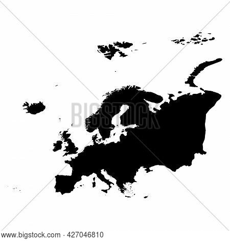 Europe - High Detailed Continent Isolated Silhouette Map. Simple Flat Black Vector Illustration.