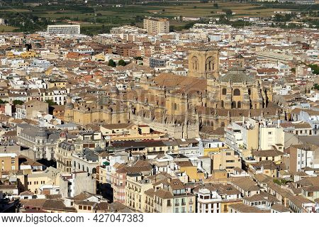 Granada, Spain - August 31, 2020: Cathedral Of Granada (world Heritage Site By Unesco). Andalucia, S